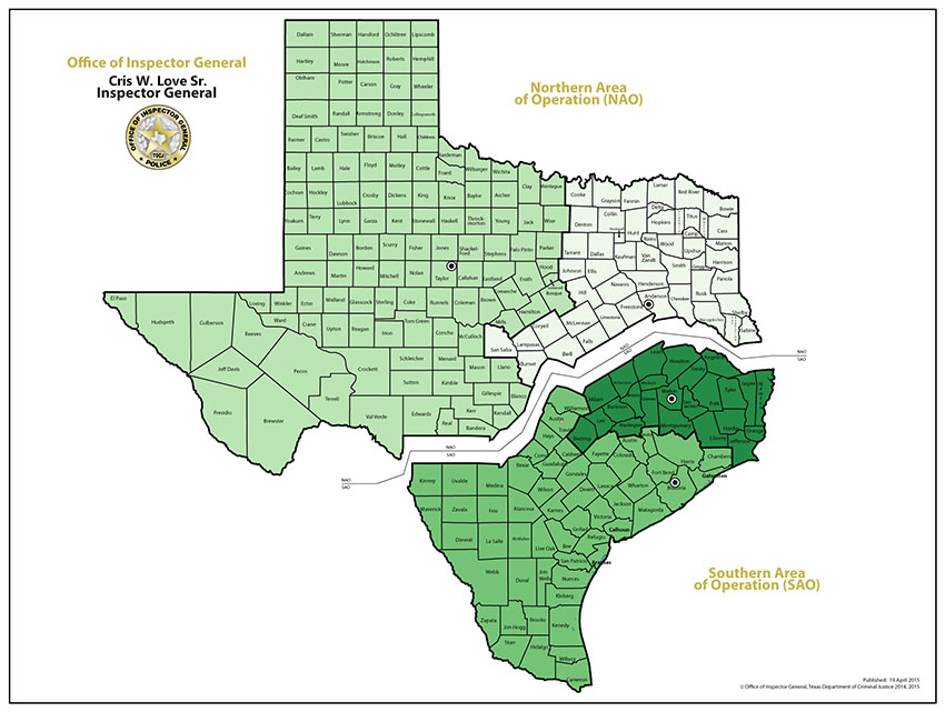 Image of Texas showing northern and southern areas of operation
